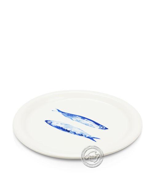 Plato, rund, weiß mit Fischen blau, volllasiert 27 cm, je Stück