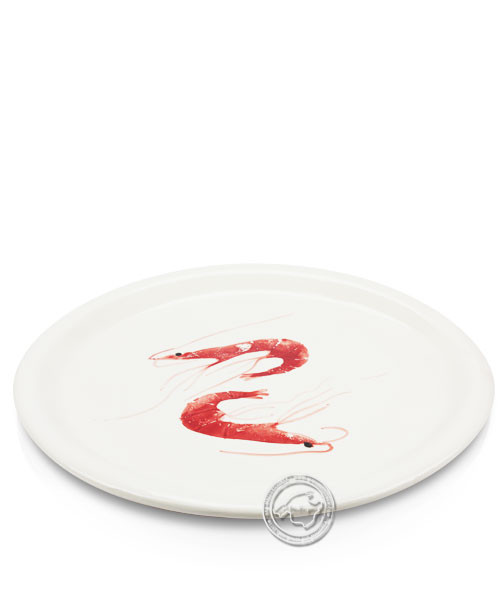 Plato, rund, weiß mit Gambas rot, volllasiert 32 cm, je Stück
