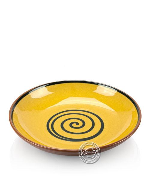 Teller volllasiert braun, innen gelb mit blauem Spiralmuster, rund 25 cm
