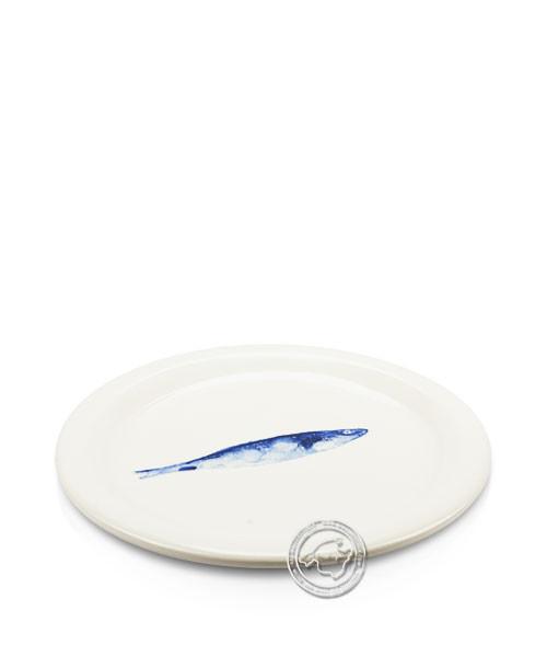 Plato, rund, weiß mit Fisch blau, volllasiert 27 cm, je Stück