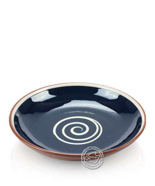 Teller volllasiert braun, innen blau mit beigem Spiralmuster, rund 25 cm