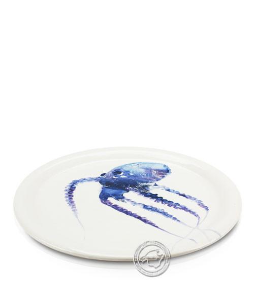 Plato, rund, weiß mit Tintenfisch blau, volllasiert 32 cm, je Stück