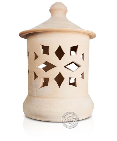 Keramik / Licht / Kunst Campos, Lampara Grandes - Keramikstehleuchte natur Raute/Dreiecke, 50 cm