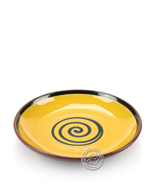 Teller volllasiert braun, innen gelb mit blauem Spiralmuster, rund 21 cm